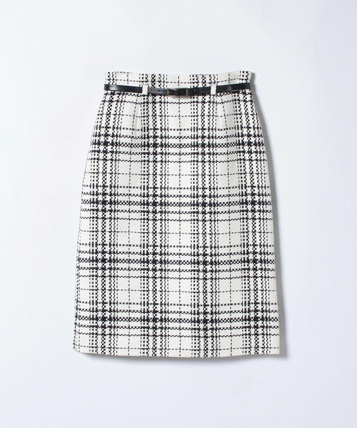【TVドラマ着用】【ベルト付】ファンシーチェックAラインスカート