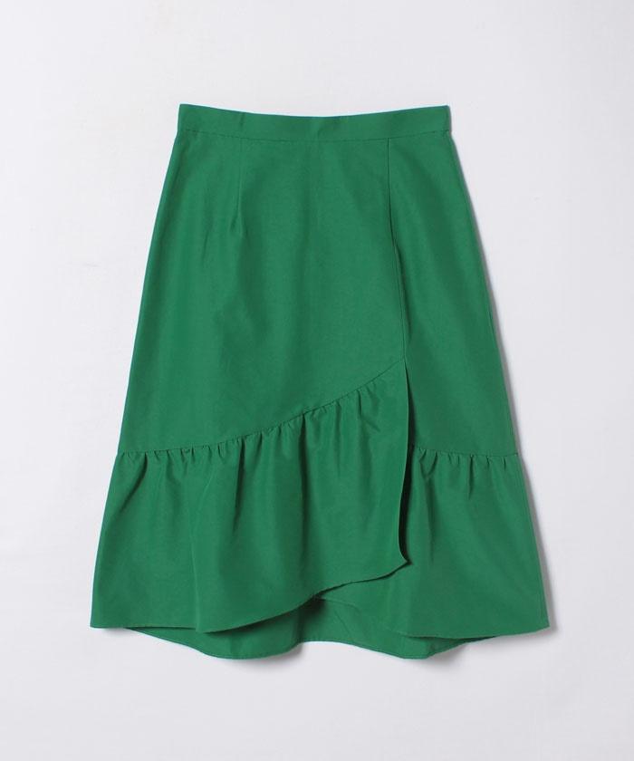 グログランラップペプラムスカート