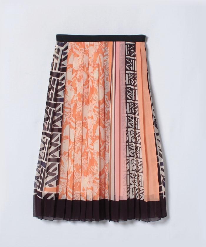 パネルキカプリントプリーツスカート