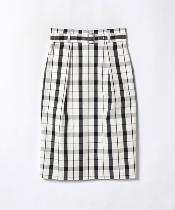チェックストレッチタックタイトスカート