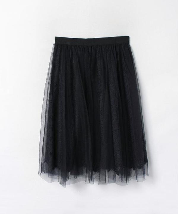 スカラレースチュールギャザースカート