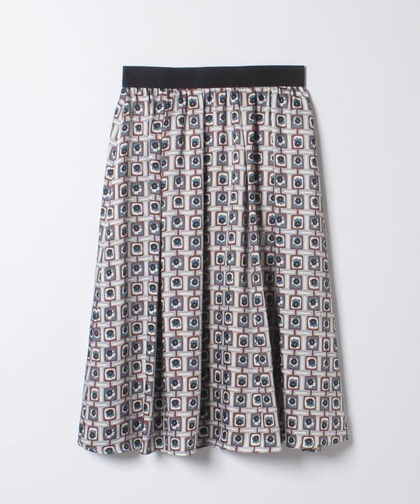 【セットアップ対応商品】レトロフラワープリントタックギャザースカート