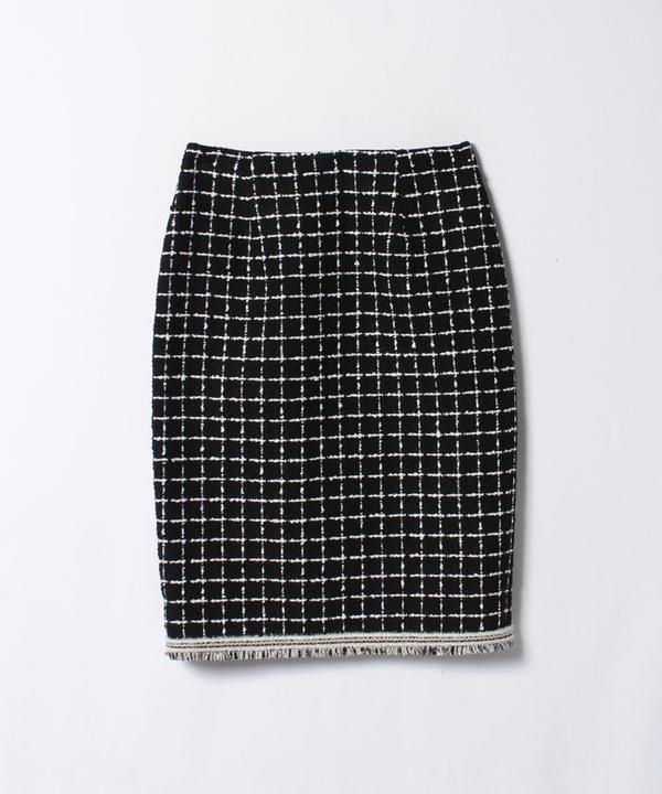【セットアップ対応商品】モノトーンチェックツイードタイトスカート