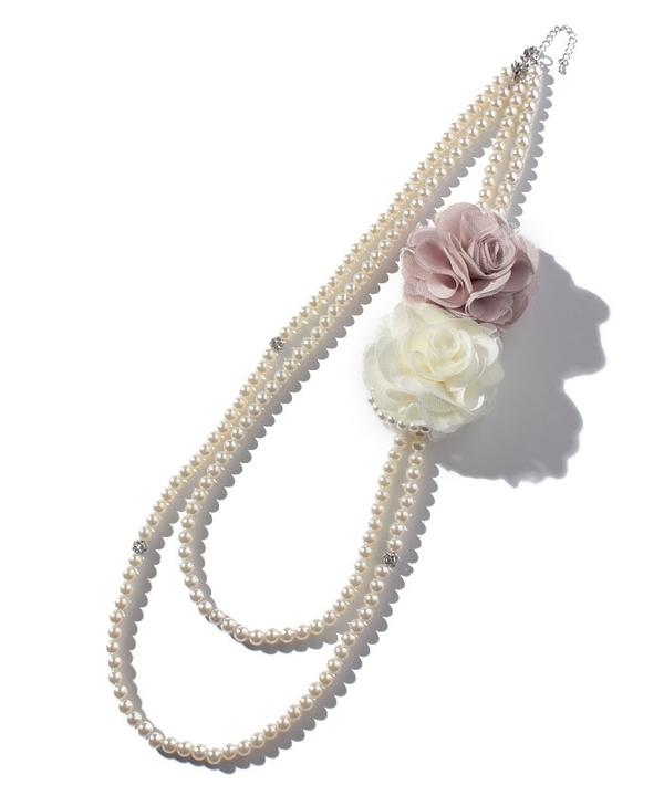 コサージュ付きパール2連ネックレス