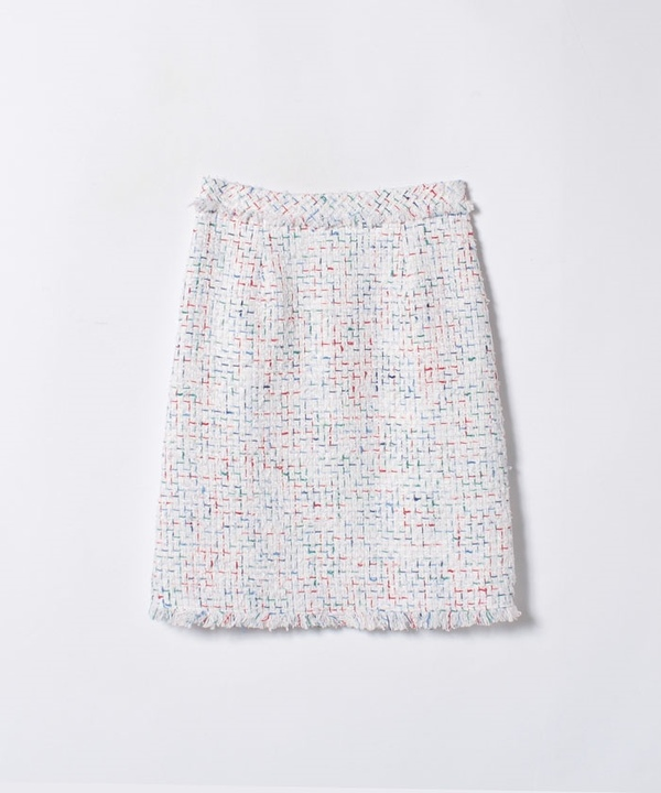 【セットアップ対応商品】ホワイトミックスツイードAラインスカート