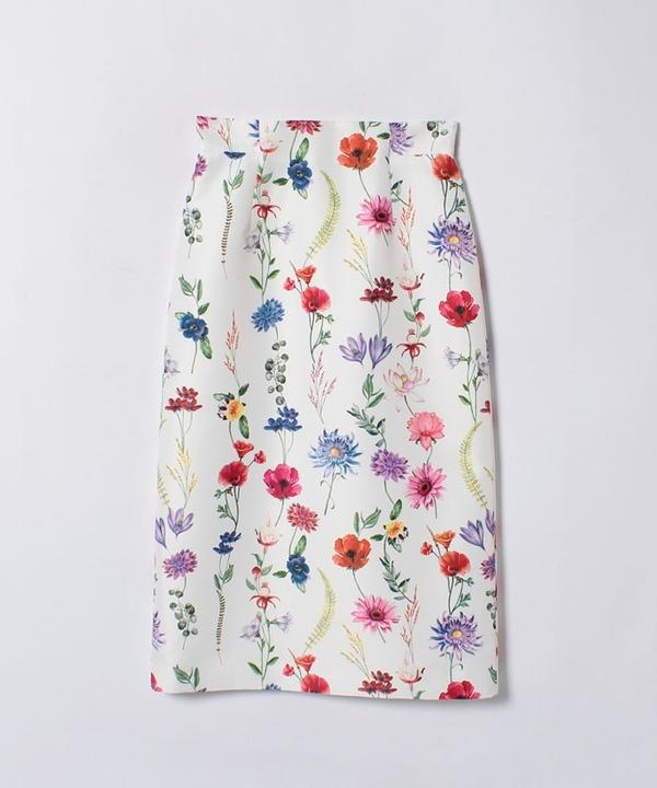 【セットアップ対応商品】ボタニカルプリントAラインスカート