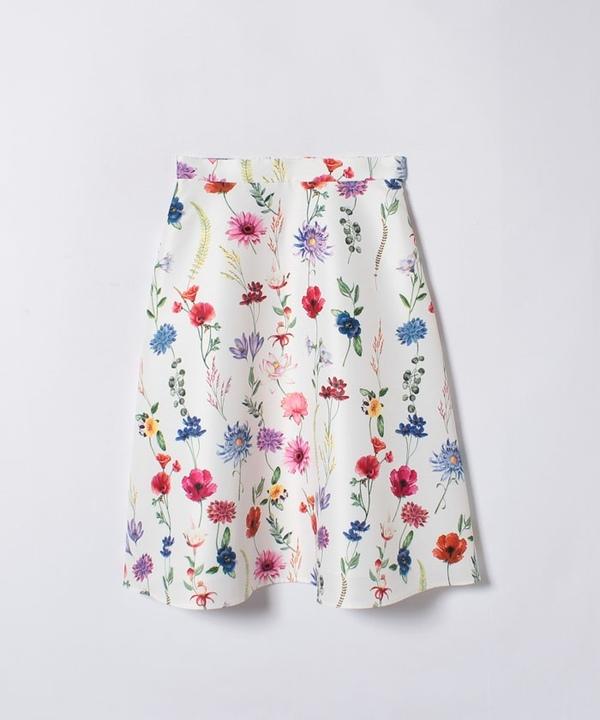★【セットアップ対応商品】ボタニカルプリントフレアスカート