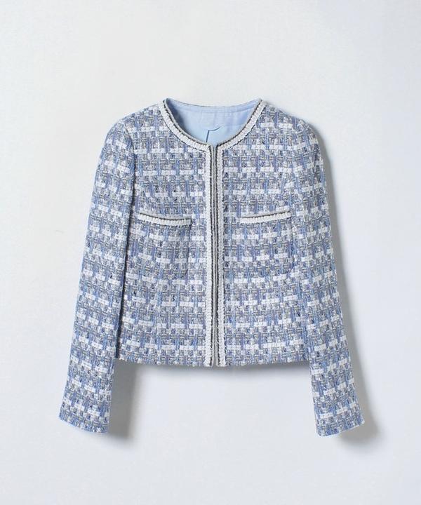 ブルーラメメツイードフリンジジャケット