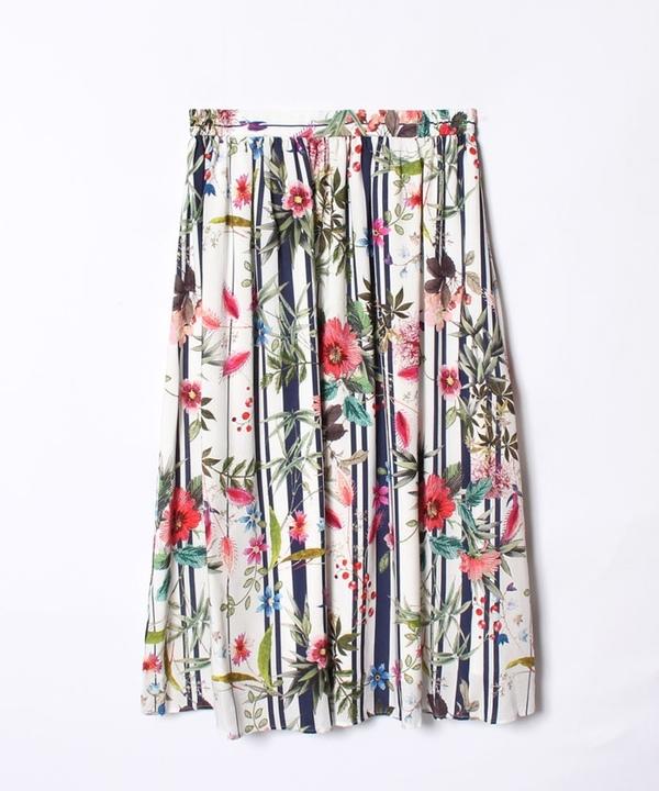 【追加】【セットアップ対応商品】ストライプフラワープリントフレアスカート