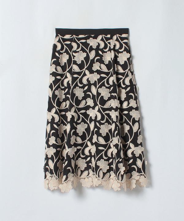 3Dフラワーレースフレアスカート