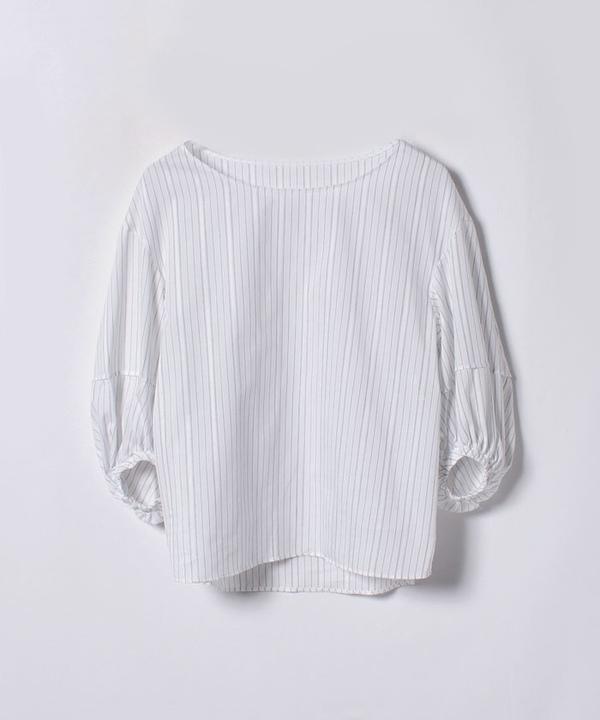 ★カラミストライプボリューム袖ブラウス