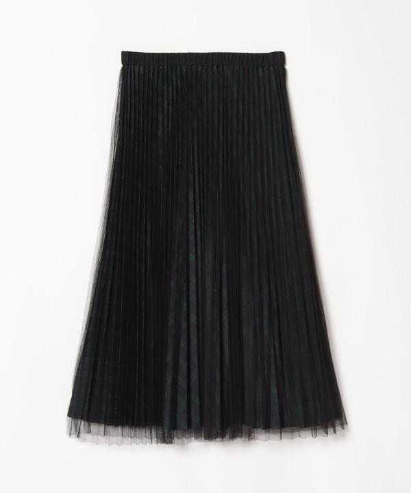 チェック×チュールプリーツスカート
