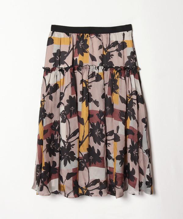 カラーブロックフラワープリントスカート