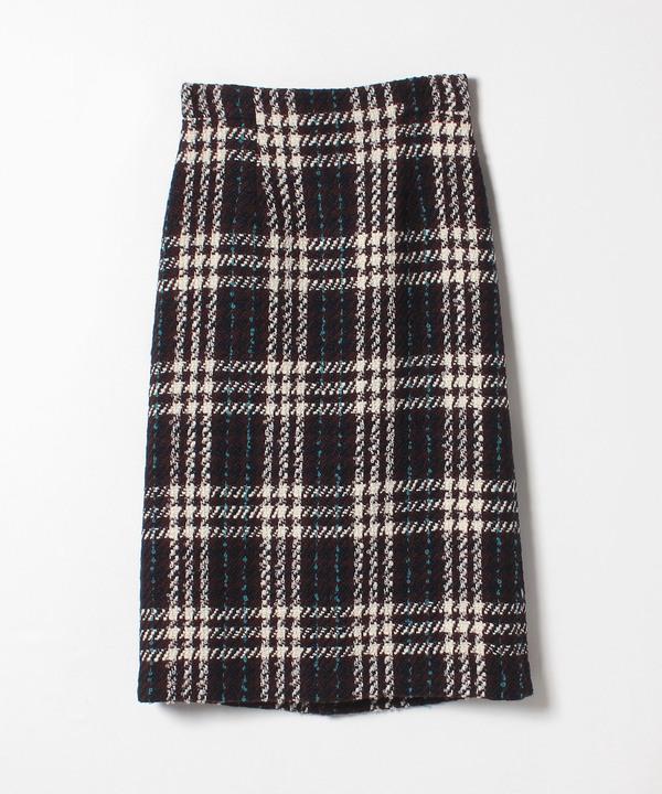 チェックツイードストレートスカート