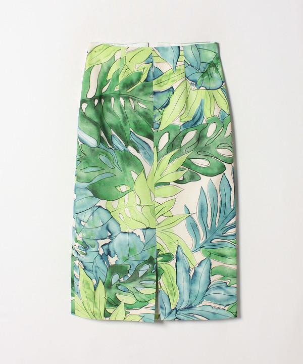 BIGリーフプリントタイトスカート