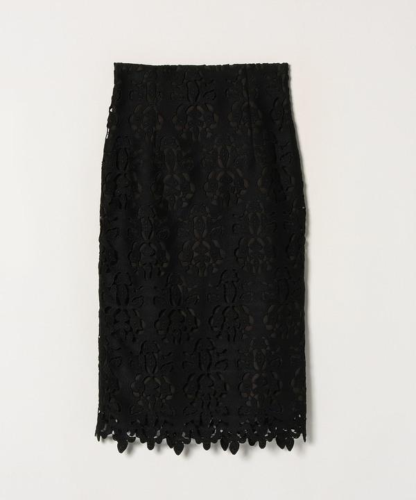 【セットアップ対応商品】シルエットモチーフレースタイトスカート