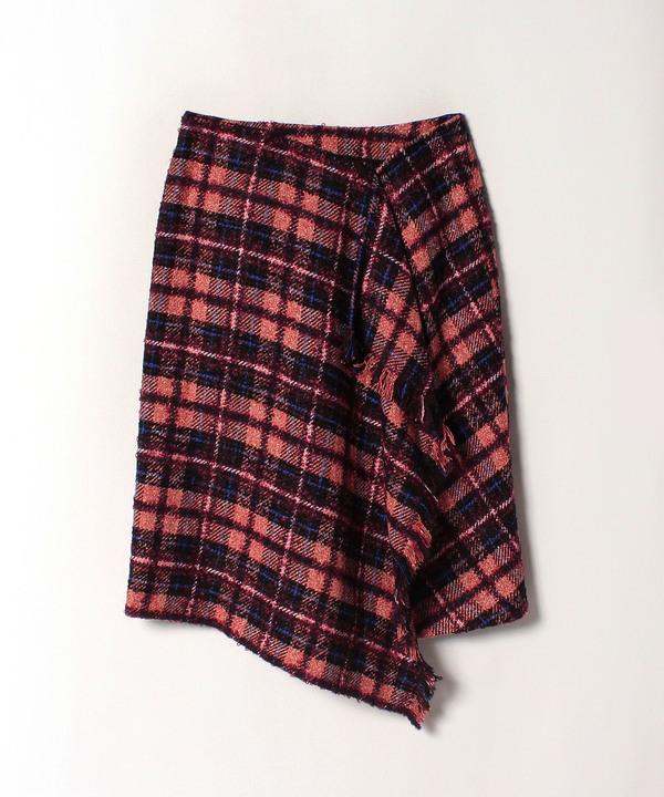 ループチェックドレープスカート