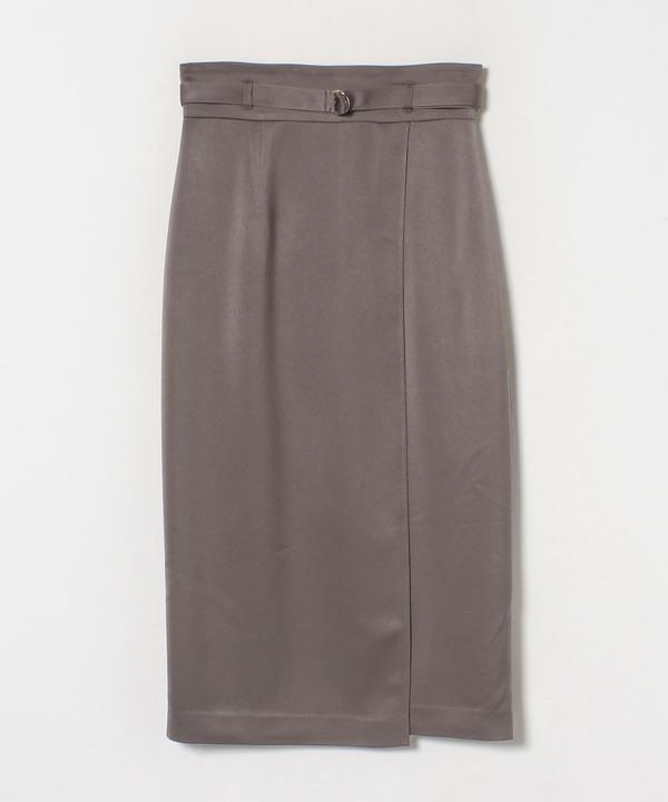 サテンピーチスエードタイトスカート