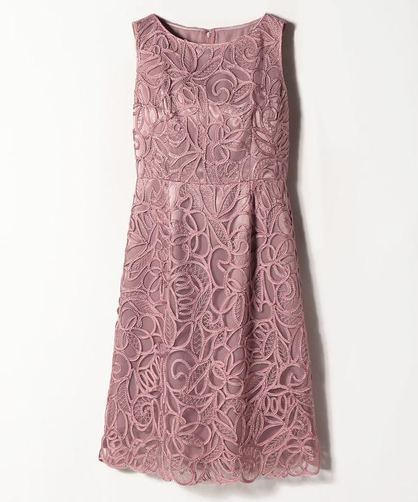 チュール刺繍ノースリワンピース