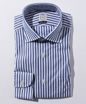 長袖シャツ(ブロックストライプ) ネイビー