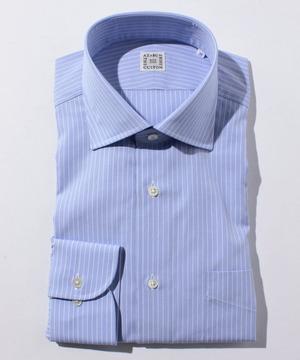 長袖シャツ(ペンシルストライプ) ブルー