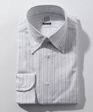 長袖シャツ(カラミ織ストライプ) グレー