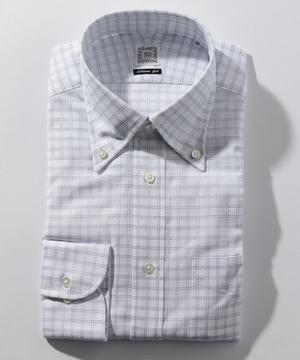 長袖シャツ(カラミ織チェック) ネイビー