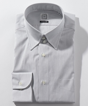 長袖シャツ(ヘアラインストライプ) ブラック