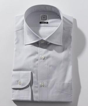 長袖シャツ(ヘアラインストライプ) グレー