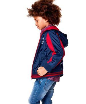 KIDS配色バックプリントフードジャケット