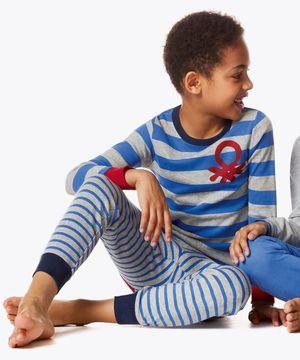 KIDSボーダー柄ロゴパジャマセット