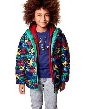 KIDS中綿ロゴプリントフードジャケット