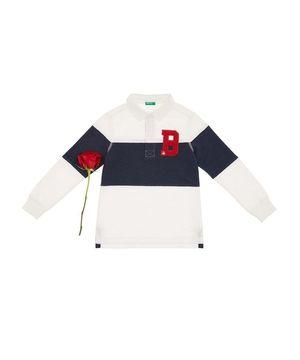 サガラ刺繍ベーシックロゴ長袖ラガーシャツ
