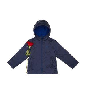 フード付き配色インナーフリースジャケット