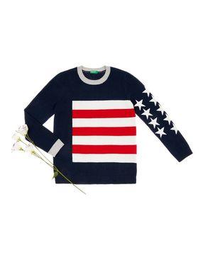 フラッグ配色リブニット・セーター