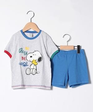 【SNOOPYコラボ】配色半袖パジャマ上下セット