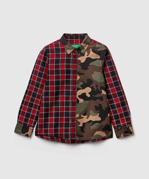 チェックカモフラシャツ