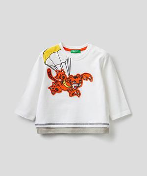 レイヤード風アップリケ長袖Tシャツ・カットソー