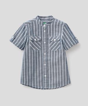 リネンタッチ半袖スタンドカラーシャツ