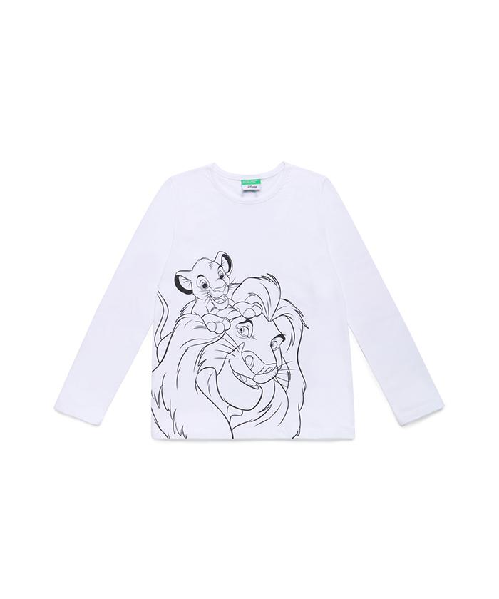 【Disney】コラボ ライオンキングスモノクロプリントTシャツ・カットソー