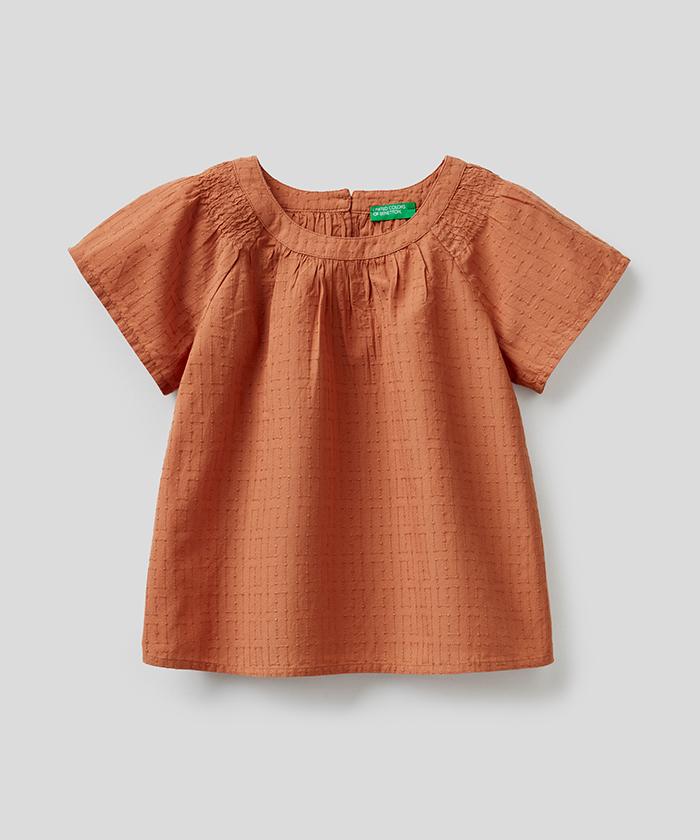 モスリン半袖刺繍シャツ・ブラウス