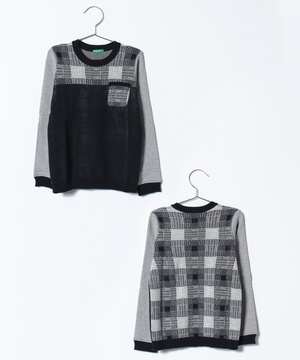KIDS胸ポケットチェック切り替えニット・セーター