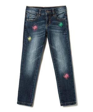KIDSストレッチカラフル刺繍デニムパンツ