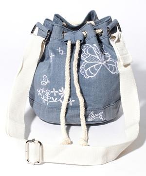 バタフライ刺繍ドロストバッグ