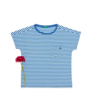 ワイドスリーブボーダーポケット半袖Tシャツ・カットソー