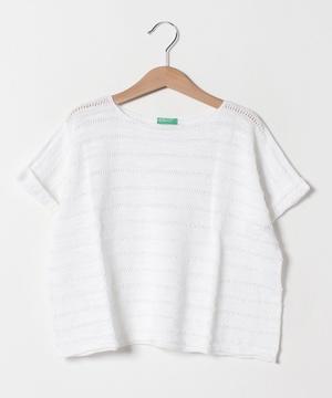 飾り編みワイド半袖ニット・セーター