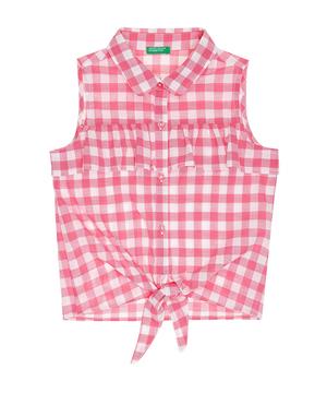 フリル裾結びノースリーブシャツ・ブラウス