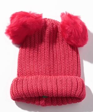 ミミぽんぽんリブニットキャップ・ニット帽