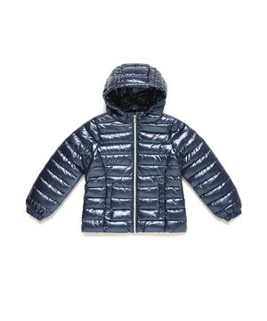 フード付き総柄メタリック中綿ジャケット