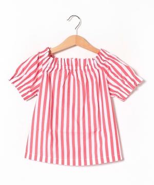 ポプリンストライプ半袖シャツ・ブラウス